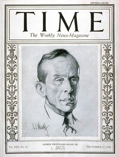 Alfred P. Sloan on the cover of TIME Magazine, December 27, 1926
