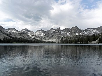 Alice Lake and the Sawtooth Mountains in the Sawtooth Wilderness