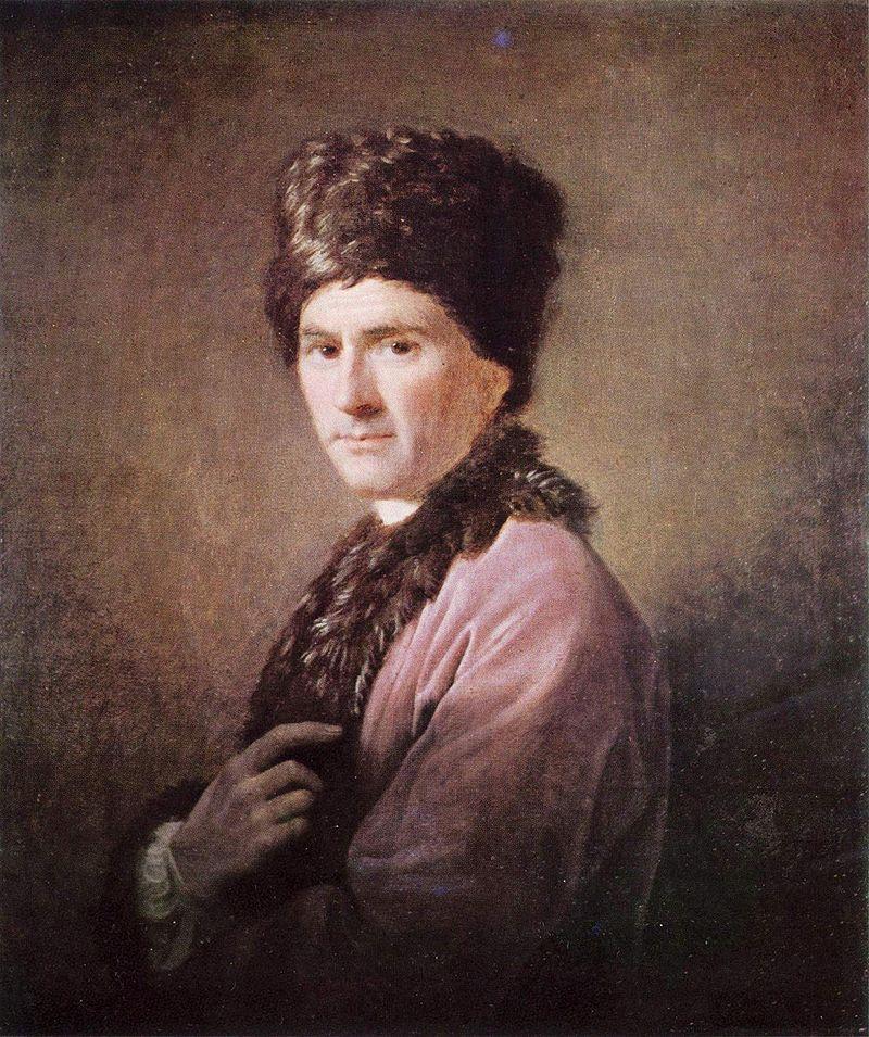 Portrait de Rousseau dans la tenue «arménienne» (toque et col de fourrure) qu'il portait à Londres.