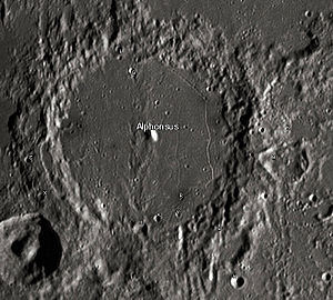 """Alphonsus (crater) - Alphonsus crater and its satellite craters taken from Earth in 2012 at the University of Hertfordshire's Bayfordbury Observatory with the telescopes Meade LX200 14"""" and Lumenera Skynyx 2-1"""