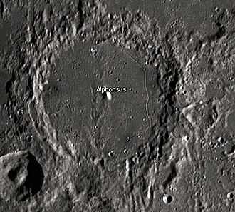 "Alphonsus (crater) - Alphonsus crater and its satellite craters taken from Earth in 2012 at the University of Hertfordshire's Bayfordbury Observatory with the telescopes Meade LX200 14"" and Lumenera Skynyx 2-1"