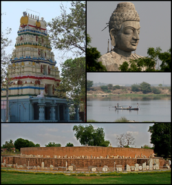 Amaravati Montage Clockwise from top left: Amareshwara Swamy Temple, Closeup shot of Dhyana Buddha Statue, River Krishna, Amaravati Maha Stupa