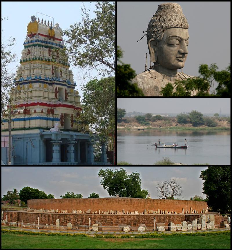 Amareswara temple, Buddha statue, An overview of Krishna river, Mahachaitya