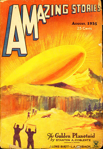 """Stanton A. Coblentz - Coblentz's novelette """"The Golden Planetoid"""" was the cover story for the August 1935 issue of Amazing Stories"""