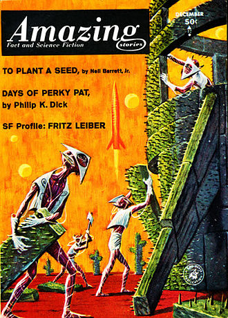 """Neal Barrett Jr. - Barrett's novella """"To Plant a Seed"""" was the cover story on the December 1963 issue of Amazing Stories"""