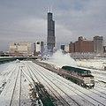 Amtrak train and Sears Tower, February 1985.jpg