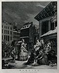 An old woman, the prude, is standing near a crowd of people Wellcome V0049293.jpg
