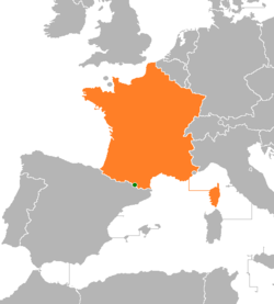 Map indicating locations of Andorra and France