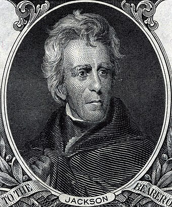 Andrew Jackson was the seventh President of the United States (1829-1837) and the first Democratic President. Andrew Jackson (Engraved Portrait).jpg