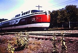 UAC TurboTrain - An Amtrak TurboTrain arriving at Ann Arbor, Michigan in September 1971.