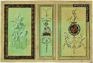 Three designs for the decoration of wall panels in Louis XVI style
