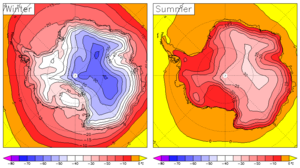 Climate of Antarctica - Surface temperature of Antarctica in winter and summer from the European Centre for Medium-Range Weather Forecasts