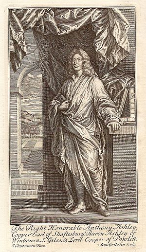 """Simon Gribelin - Anthony Ashley-Cooper, 3rd Earl of Shaftesbury by Simon Gribelin, from """"Characteristicks of Men, Manners, Opinions, Times"""" 5th edition, 1732"""