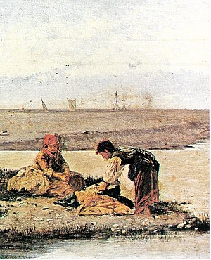 Bisagno (stream) - Antonio Varni: Bisagno mouth with laundresses at the end of the 19th century