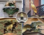 Äldre apoteksemblemer för Leoparden, Storken, Elgen, Korpen och Kronan