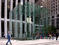 The entrance of the Apple Store on Fifth Avenu...