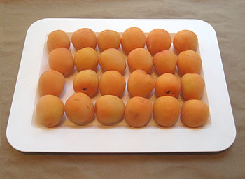Fresh apricots in a Boston, Massachusetts, USA...