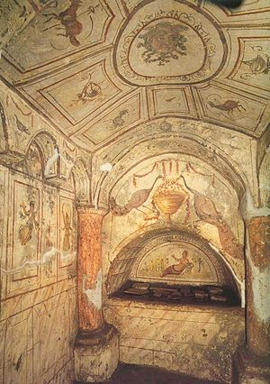 Arcosolium - One of the ornately decorated 4th century arcosolia in the Hypageum of Via Dino Compagni (Via Latina Catacomb) in Rome. The figure of the frescoes is Tellus, the Roman goddess of the earth, after whom this tomb is also named.