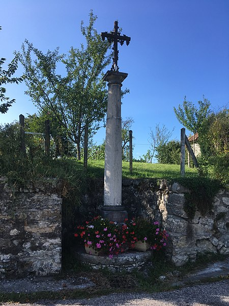 A cross in the hamlet of Ardosset Town of Ceyzérieu (Ain department, France).  August 2017