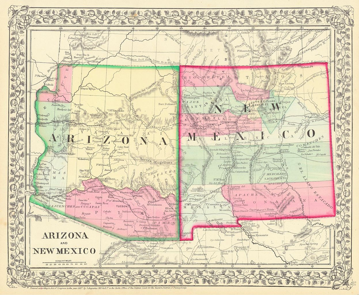 Map Of Arizona Indian Tribes.File Arizona And New Mexico Territories Map 1867 Jpg Wikimedia