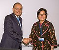 Arun Jaitley in a bilateral meeting with the Finance Minister of Indonesia, Sri Mulyani Indrawati, on the sidelines of the Spring Meetings of World Bank and IMF, in Washington D.C.jpg