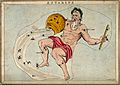 Astrology; signs of the zodiac, Aquarius. Coloured engraving Wellcome V0024935.jpg