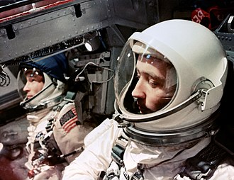 Project Gemini - Astronauts White and McDivitt inside the Gemini 4 spacecraft, 1965