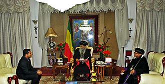Orthodoxy Cognate PAGE Society - OCP Secretary George Alexander at the residence of the Ethiopian Patriarch