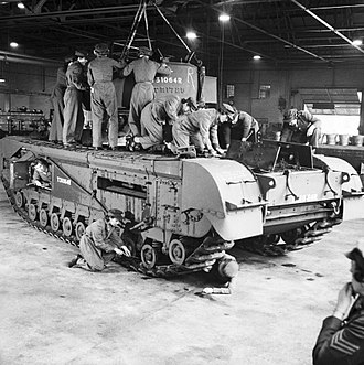 Auxiliary Territorial Service - ATS women working on a Churchill tank at a Royal Army Ordnance Corps depot, 10 October 1942.