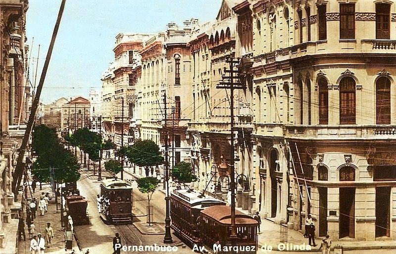 Ficheiro:Avenida Marquês de Olinda nos anos 1930 - Recife, Pernambuco, Brasil.jpg