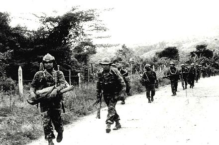 The U.S.-supported Contra rebels marching through Jinotega in 1985 BLI en operacion 01.jpg