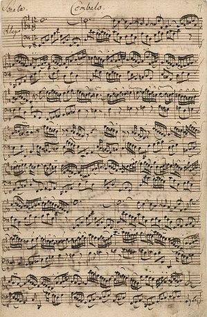Sonatas for viola da gamba and harpsichord (Bach) - Image: BWV1027 autograph manuscript Cembalo