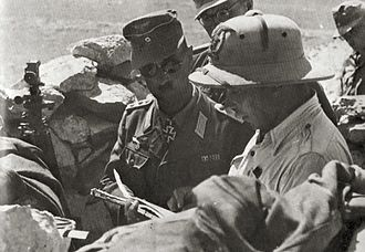 Operation Battleaxe - Bach in an Italian battery position, Halfaya Pass