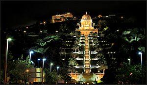 Bahá'í World Centre - Shrine of the Báb and the lower terraces at night