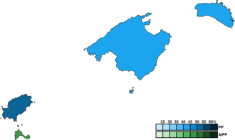 Balearic regional election, 1995 - Image: Balearic Islands District Map Parliament 1995