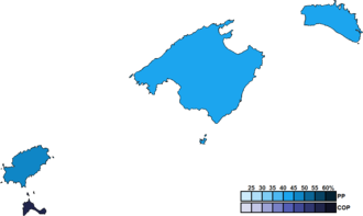 Balearic regional election, 1999 - Image: Balearic Islands District Map Parliament 1999