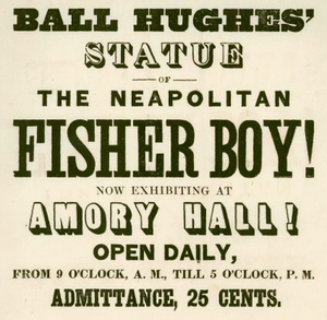 Robert Ball Hughes - Advertisement for exhibition of Hughes' work at Amory Hall, Boston, ca.1840s