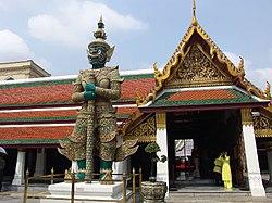 Totsakanth (Ravana)'s sculpture as a guardian of Wat Phra Kaew, Thailand