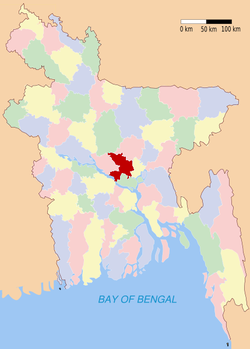 Location of Dhaka