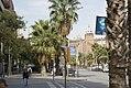 Barcelona - Carrer de la Marina - View NW on Plaça- Plaza de Toros Monumental & on far distance- La Sagrada Família.jpg