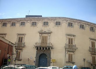 Acireale - The 18th century Musmeci Palazzo, located in Piazza San Domenico.