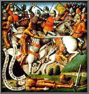 Battle of Roncevaux Pass - 15th century anonymous painting of the Battle of Roncevaux Pass.