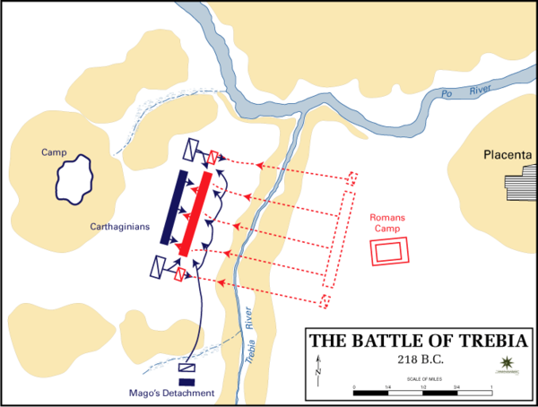 A diagram depicting the tactics used in the Battle of the Trebia Battle trebia.gif