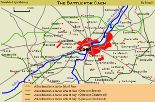 Battle for Caen part of the Battle of Normandy in WWII