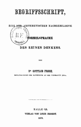 Begriffsschrift - The title page of the original 1879 edition