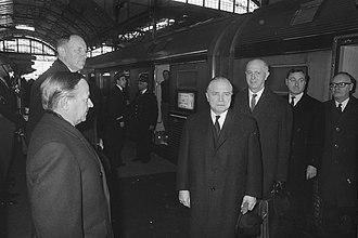 Gaston Eyskens - Eyskens (centre-right) with Dutch dignitaries, 1969