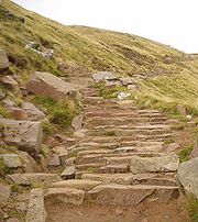 The lower part of the Ben Path, maintained at a high standard to accommodate some 75,000 people a year.