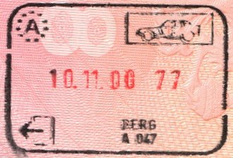 Berg, Lower Austria - Passport stamp from the border before Slovakia joined the Schengen Area