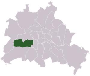 Lage des ehemaligen Bezirks Wilmersdorf in Berlin
