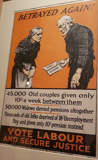 Pensions in the United Kingdom - Betrayed Again: Labour Party poster